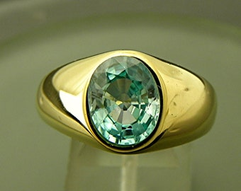 AAAA Natural Blue Zircon 10x8mm 3.61Carats 14K yellow gold ring 19 grams 0206 MMM
