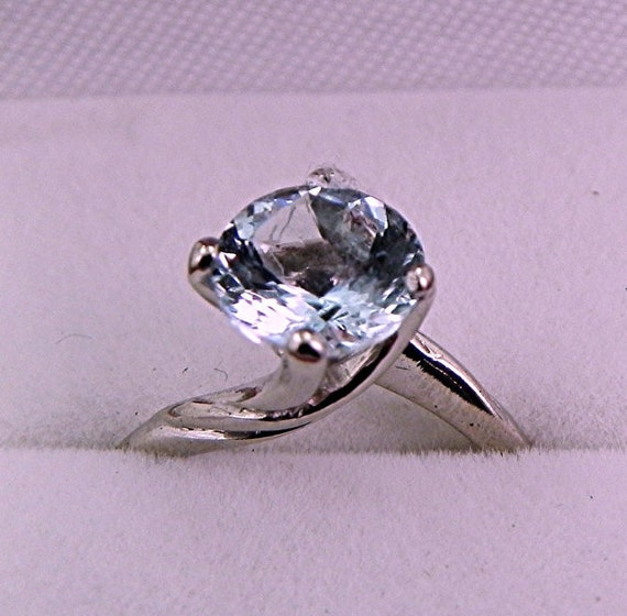 AAA Aquamarine Round Natural   8mm  1.50 Carats   set in 14K white gold ring