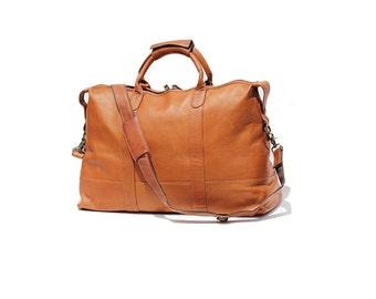 Copper Brown Leather weekend Travel Duffel Bag