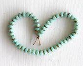 50 Milky Aqua Picasso 3x5mm Faceted Rondelles - Czech Glass Beads