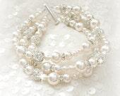 Pearl Wedding Bracelet, Bridal Bracelet, Pearl Bridal Bracelet, Wedding Cuff, Pearl Rhinestone Statement Bracelet, 3 strand bracelet