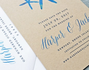 Harper Watercolor Starfish Kraft Wedding Save the Date - Rustic Beach Wedding