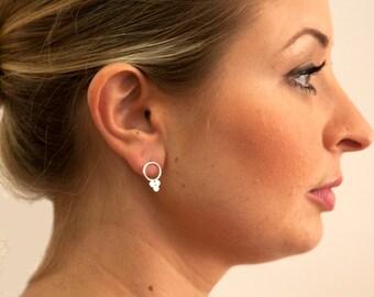 Plus Silver 925 Stud Earrings, Sterling Silver Circles Earrings, Triple earrings , Bubbles Post Earrings