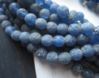 blue round glass beads , matte translucent blue  , blue lampwork beads , rustic gritty textured indonesian  9 to 11mm  / 12 pcs - 5bb32-1