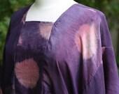Habotai Silk Tunic Shibori Dyed in Logwood, Cochineal and Indigo