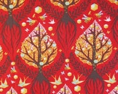 Tula Pink Tree of Life Red LAMINATE Fabric 1 yard