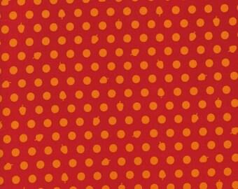 Dots Acorns Orange Red Woodland Park RJR Fabric 1 yard