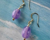 Clearance / Sale Purple / Lavender / Lilac Dangle / Drop Earrings with Silver Accents item EG7
