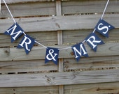 Mr & Mrs banner in Navy Blue and White - Mr and Mrs Wedding Sign and Photo Prop