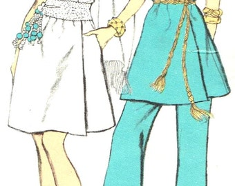 Vintage 1960s Misses Evening Dress or Tunic and Pants Size 14 Vogue 7692 Sewing Pattern 60s