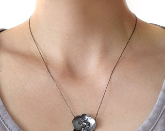 Black Orchid Flower Silver Necklace