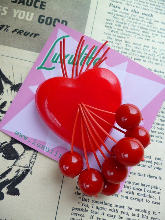 Vintage Valentines WW2 style all red sweetheart with red cherries 1940's 50s handmade bakelite style brooch by Luxulite