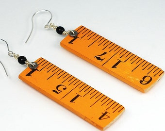 Wood Ruler Earrings- Upcycled Folding Ruler Jewelry, Found Object Jewelry, Yellow & Black Hardware Jewelry by Tanith Rohe