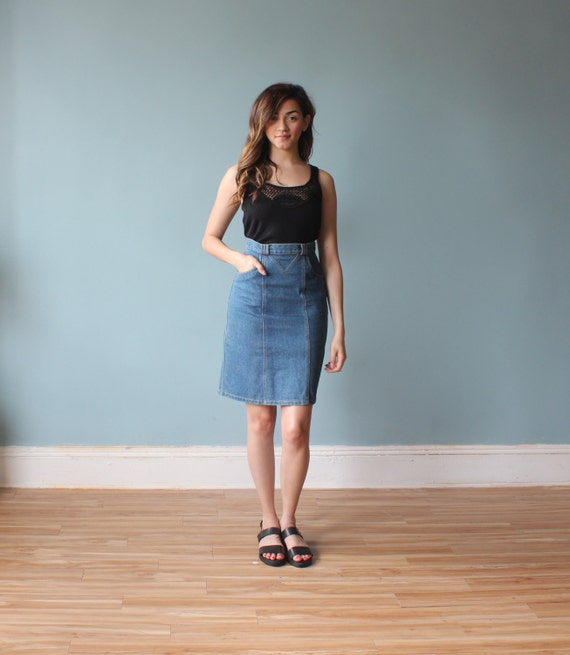 denim pencil skirt fitted jean skirt 1980s by