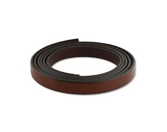 European Licorice Leather 43401 (1 meter), 10mm Flat Leather Cording, Brown Spanish Leather Strap, Supple Leather Cord, Leather Blanks