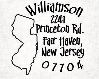 New Jersey Personalized Return Address State Stamp