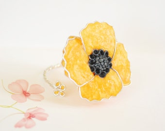 Yellow Poppy Cuff, Silver Flower Jewelry, 4th Anniversary Gift, Paper Jewelry, 1st Anniversary Gift, Statement Bracelet Unique, Bold Large