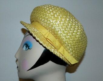 vintage straw hat 1960s / yellow MOD bubble hat cap helmet