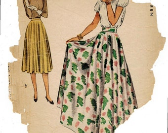 1940s McCall 6927 Vintage Sewing Pattern Misses Circle Skirt Size Waist 24
