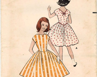 1950s Butterick 8485 Vintage Sewing Pattern Girl's Party Dress Size 8