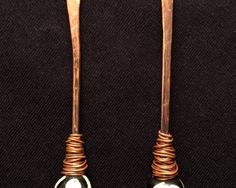 Hammered Copper Drop Earrings