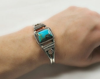 Vintage Nevada Turquoise Bracelet Cuff Sterling Silver Signed RB Blue Green with Matrix