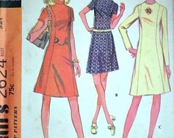 """McCall's 2624 Vintage 70's Sewing Pattern, Misses' Basic Dress In Three Versions, Size 10, 32 1/2"""" Bust, Uncut FF, Retro 1970's Fashion"""