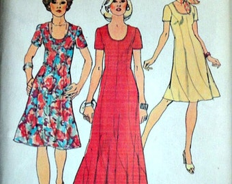Misses' Swirl Dress In Two Lengths, Simplicity 6334 Vintage 70's Sewing Pattern, Size 14, 36 Bust, Retro, Uncut Factory Folded