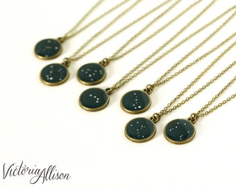 Personalized Jewelry Zodiac Constellation Necklace, Birthday Star Sign, Brass, Bridesmaid Gift, Zodiac Pendant, Navy Blue, Tiny, Small