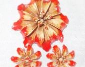 1960s Vintage Enamel Orange Hawaiian Flower Brooch and Clip On Earring Demi Parure