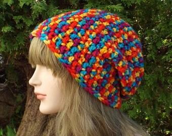 Rainbow Slouchy Beanie, Womens Crochet Hat, Oversized Slouchy Beanie, Chunky Hat, Slouch Hat, Mens Baggy Beanie, Multicolor Slouchy Hat