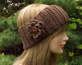 Mocha Brown Ear Warmer, Crochet Headband with Flower, Head Wrap, Womens Ski Band, Chunky Earwarmer, Winter Headband, Gift for Her