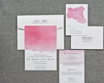 Pink Ombre Watercolor Wedding Invitations with Modern Script   Alex & John