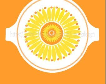 Pyrex Inspired Sunflower Round Casserole Lid
