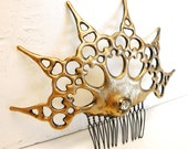 Gold Clock hand Hair Comb steampunk distressed gold color with crystal ornate hair Ornament perfect for the midnight ball or Steampunk bride