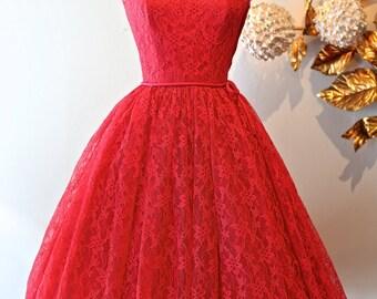 Vintage 1950's Lace Dress ~ Vintage 50s Rose Pink Cocktail Party Dress ~ Vintage Illusion Lace Dress