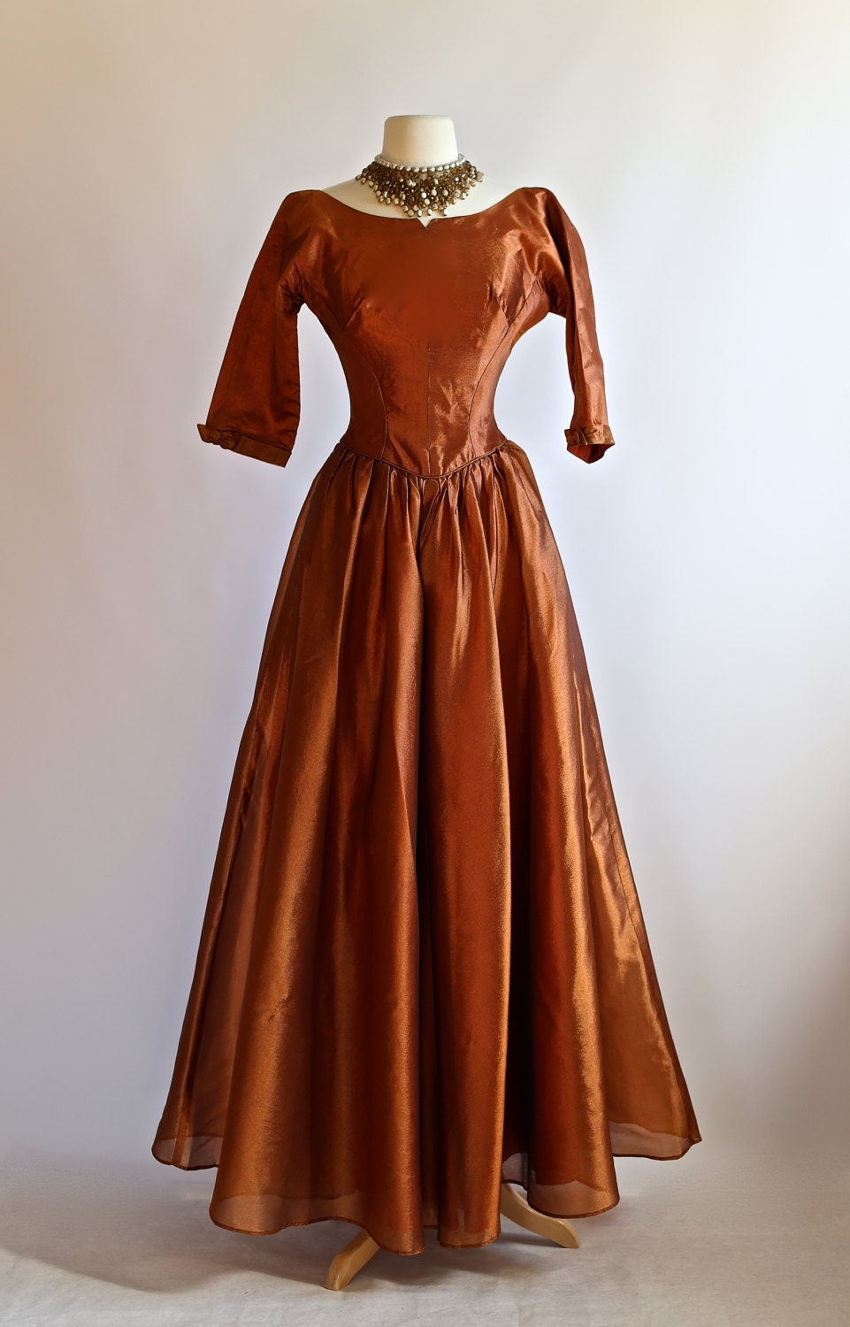 vintage 1950s copper evening gown vintage 50s formal dress. Black Bedroom Furniture Sets. Home Design Ideas