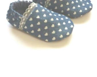 Reversible Baby Shoes, Denim Hearts