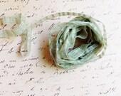 Rosemary green Linen Blend Pinstriped Ribbon - mint striped woven millinery trim baby hair bow headband supply ribbonwork fiber art trimming