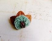 Aquamarine Russet Millinery Flower Brooch ~Velveteen Chenille Rosette pin, glass beaded stamens, velvet wedding accessory Victorian trim