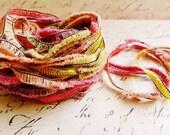 Citrus Sunrise Gemini Fringe Ribbon Garland ~Novelty trim Scrapbooking wedding favor craft supply, holiday gift wrap mixed fiber art