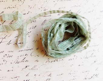 Rosemary green Linen Blend Pinstriped Ribbon - mint striped woven millinery trim baby hair bow headband supply ribbonwork fiber art trimming