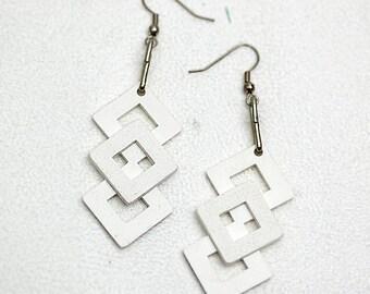 Geometric White  Earrings Diamond Square Stack Dangle