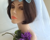 1960s Fascinator Light Blue Veil Lace Medallion and Faux Pearl Wedding Bridal Accessory