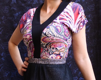 Bright Paisley Jersey Tank Top, Designer Fashion Blouse, Black V Neck, Fitted Body, Sleeveless, Made in Australia.