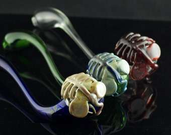 Facehugger Alien Glass Churchwarden Pipe Hand Blown Thick Wall in YOU CHOOSE the COLOR, Made to Order