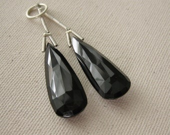 Black Spinel Faceted Long Teardrop Briolette Beads 9.75x27mm - Matched Gemstone Pair
