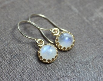 Rainbow Moonstone Earrings Crown Bezel Set Gold Earrings Crown Setting Moonstone Cabochon Earrings