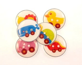 "6 Animal Toy or Animal Car Buttons. Handmade Decorative Novelty Buttons.  Knitting, sewing or crafting buttons. 3/4"" or 20 mm."