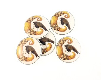 """5 Primitive Moon and Crow Decorative Novelty Buttons.  Craft Sewing Buttons.  3/4"""" or 20 mm. Washable Dryer Safe."""